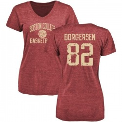 Women's Nolan Borgersen Boston College Eagles Distressed Basketball Tri-Blend T-Shirt - Maroon