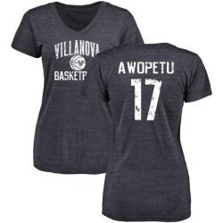 Women's Nowooola Awopetu Villanova Wildcats Distressed Basketball Tri-Blend V-Neck T-Shirt - Navy