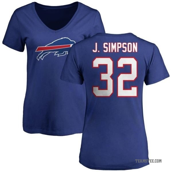 online store 5e5e3 9363a Women's O. J. Simpson Buffalo Bills Name & Number Logo Slim Fit T-Shirt -  Royal - Teams Tee