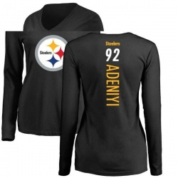 Women's Olasunkanmi Adeniyi Pittsburgh Steelers Backer Slim Fit Long Sleeve T-Shirt - Black