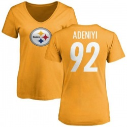 Women's Olasunkanmi Adeniyi Pittsburgh Steelers Name & Number Logo Slim Fit T-Shirt - Gold