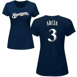 Women's Orlando Arcia Milwaukee Brewers Roster Name & Number T-Shirt - Navy