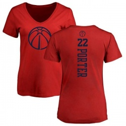 Women's Otto Porter Washington Wizards Red One Color Backer Slim-Fit V-Neck T-Shirt