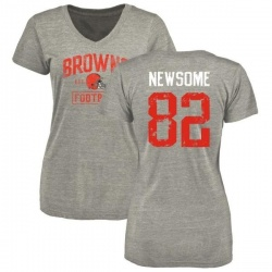 Women's Ozzie Newsome Cleveland Browns Heather Gray Distressed Name & Number Tri-Blend V-Neck T-Shirt