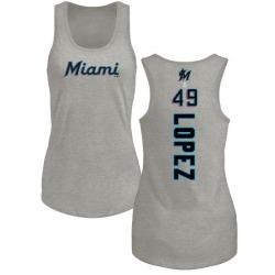 Women's Pablo Lopez Miami Marlins Backer Tri-Blend Tank Top - Ash