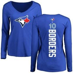 Women's Pat Borders Toronto Blue Jays Backer Slim Fit Long Sleeve T-Shirt - Royal