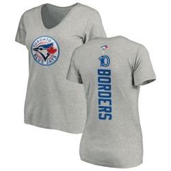 Women's Pat Borders Toronto Blue Jays Backer Slim Fit T-Shirt - Ash