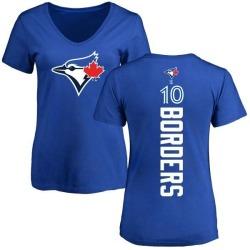 Women's Pat Borders Toronto Blue Jays Backer Slim Fit T-Shirt - Royal