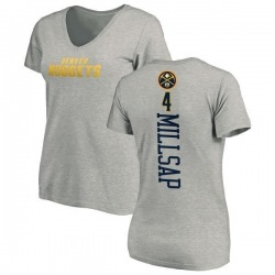 Women's Paul Millsap Denver Nuggets Ash Backer T-Shirt