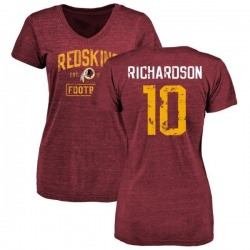Women's Paul Richardson Washington Redskins Burgundy Distressed Name & Number Tri-Blend V-Neck T-Shirt