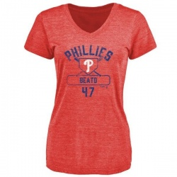 Women's Pedro Beato Philadelphia Phillies Base Runner Tri-Blend T-Shirt - Red