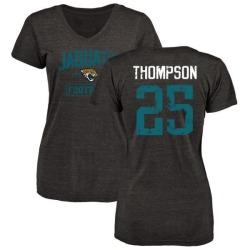Women's Peyton Thompson Jacksonville Jaguars Black Distressed Name & Number Tri-Blend V-Neck T-Shirt