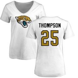Women's Peyton Thompson Jacksonville Jaguars Name & Number Logo Slim Fit T-Shirt - White