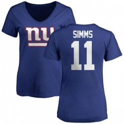 Women's Phil Simms New York Giants Name & Number Logo Slim Fit T-Shirt - Royal