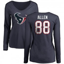 Women's RaShaun Allen Houston Texans Name & Number Logo Slim Fit Long Sleeve T-Shirt - Navy