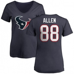 Women's RaShaun Allen Houston Texans Name & Number Logo Slim Fit T-Shirt - Navy