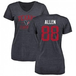 Women's RaShaun Allen Houston Texans Navy Distressed Name & Number Tri-Blend V-Neck T-Shirt