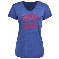 Women's Reggie Bullock Detroit Pistons Royal Baseline Tri-Blend T-Shirt