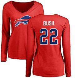 Women's Reggie Bush Buffalo Bills Name & Number Logo Slim Fit Long Sleeve T-Shirt - Red