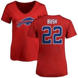 Women's Reggie Bush Buffalo Bills Name & Number Logo Slim Fit T-Shirt - Red