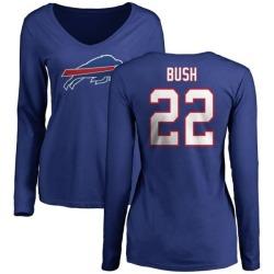 Women's Reggie Bush Buffalo Bills Name & Number Long Sleeve T-Shirt - Royal