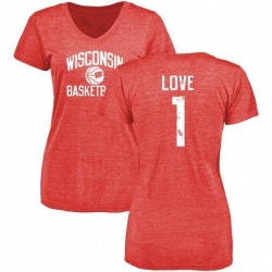 Women's Reggie Love Wisconsin Badgers Distressed Basketball Tri-Blend V-Neck T-Shirt - Red