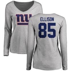 Women's Rhett Ellison New York Giants Name & Number Logo Slim Fit Long Sleeve T-Shirt - Ash
