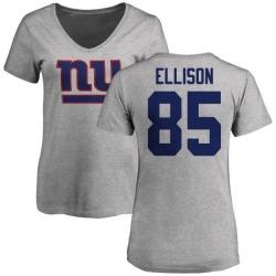 Women's Rhett Ellison New York Giants Name & Number Logo Slim Fit T-Shirt - Ash