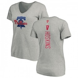 Women's Rhys Hoskins Philadelphia Phillies Backer Slim Fit T-Shirt - Ash