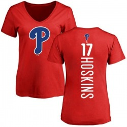 Women's Rhys Hoskins Philadelphia Phillies Backer Slim Fit T-Shirt - Red