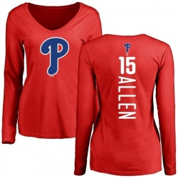 Women's Richie Allen Philadelphia Phillies Backer Slim Fit Long Sleeve T-Shirt - Red