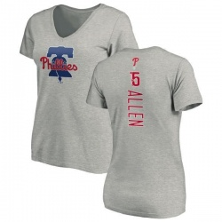 Women's Richie Allen Philadelphia Phillies Backer Slim Fit T-Shirt - Ash