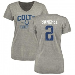 Women's Rigoberto Sanchez Indianapolis Colts Heather Gray Distressed Name & Number Tri-Blend V-Neck T-Shirt