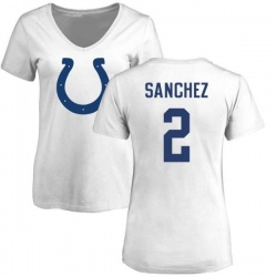 Women's Rigoberto Sanchez Indianapolis Colts Name & Number Logo Slim Fit T-Shirt - White
