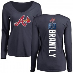 Women's Rob Brantly Atlanta Braves Backer Slim Fit Long Sleeve T-Shirt - Navy
