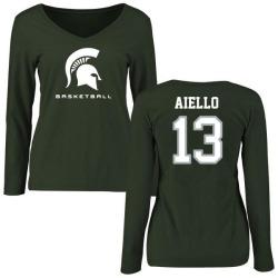 Women's Robert Aiello Michigan State Spartans Basketball Slim Fit Long Sleeve T-Shirt - Green