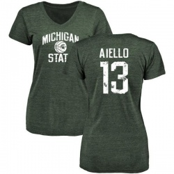 Women's Robert Aiello Michigan State Spartans Distressed Basketball Tri-Blend V-Neck T-Shirt - Green