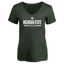 Women's Robert Aiello Michigan State Spartans Sport V-Neck T-Shirt - Green