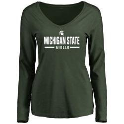 Women's Robert Aiello Michigan State Spartans Sport Wordmark Long Sleeve T-Shirt - Green