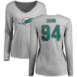 Women's Robert Quinn Miami Dolphins Name & Number Logo Slim Fit Long Sleeve T-Shirt - Ash
