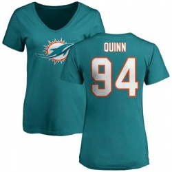 Women's Robert Quinn Miami Dolphins Name & Number Logo Slim Fit T-Shirt - Aqua