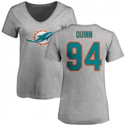 Women's Robert Quinn Miami Dolphins Name & Number Logo Slim Fit T-Shirt - Ash