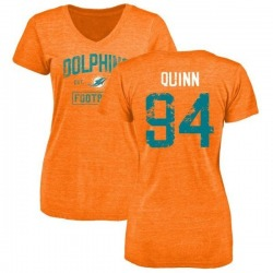 Women's Robert Quinn Miami Dolphins Orange Distressed Name & Number Tri-Blend V-Neck T-Shirt