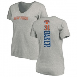 Women's Ron Baker New York Knicks Ash Backer T-Shirt