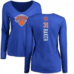 Women's Ron Baker New York Knicks Royal Backer Long Sleeve T-Shirt