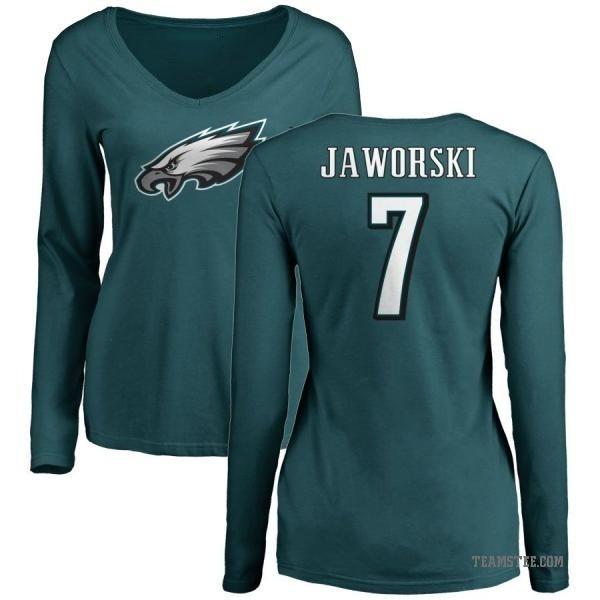 buy popular 703f0 bca52 Women's Ron Jaworski Philadelphia Eagles Name & Number Long Sleeve T-Shirt  - Green - Teams Tee