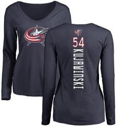 Women's Ryan Kujawinski Columbus Blue Jackets Backer Long Sleeve T-Shirt - Navy