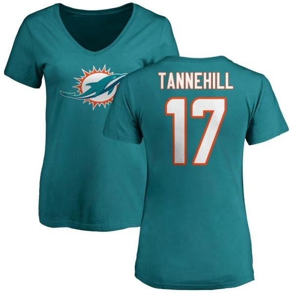reputable site 6c1b1 25f19 Women's Ryan Tannehill Miami Dolphins Name & Number Logo Slim Fit T-Shirt -  Aqua - Teams Tee