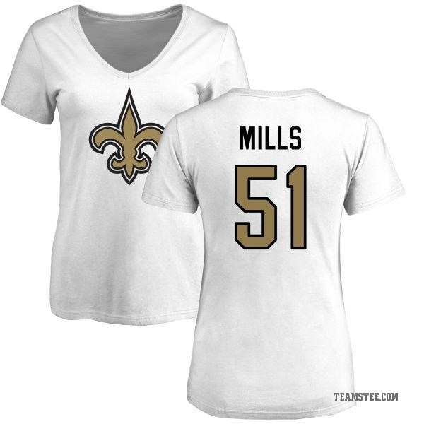 best sneakers 0ad2e ab420 Women's Sam Mills New Orleans Saints Name & Number Logo Slim Fit T-Shirt -  White - Teams Tee