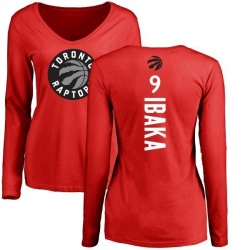 07d02654379 Women's Serge Ibaka Toronto Raptors Red Backer Long Sleeve T-Shirt